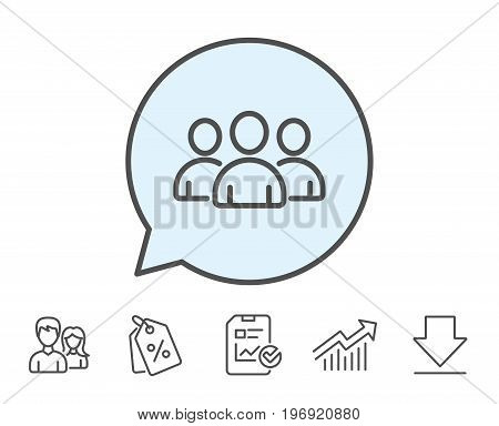 Group line icon. Users or Teamwork sign. Person silhouette symbol. Report, Sale Coupons and Chart line signs. Download, Group icons. Editable stroke. Vector