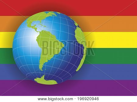 South America Map Over A Gay Flag Background