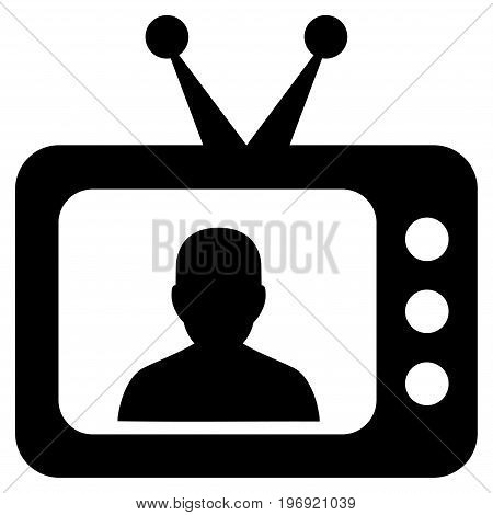 TV Speaker vector pictogram. Style is flat graphic symbol, black color, white background.