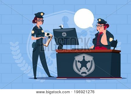 Two Police Women Working On Computer Wearing Uniform Female Guards On Blue Bricks Background Flat Vector Illustration