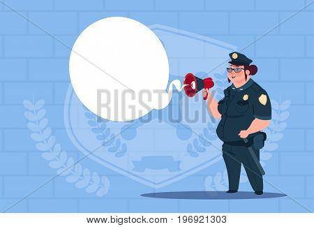 Police Woman Planning Action On White Board Wearing Uniform Female Guard On Blue Bricks Background Flat Vector Illustration