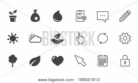 Garden sprout, leaf icons. Nature and weather signs. Sun, cloud and tree symbols. Chat, Report and Calendar line signs. Service, Pencil and Locker icons. Click, Rotation and Cursor. Vector