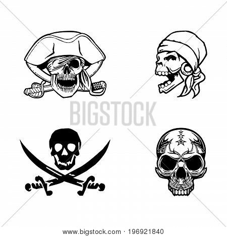 Vector illustration of the pirate flag sign skull and crossed swords.  Skull swords drop shadow and background neatly on separate well defined layers and groups
