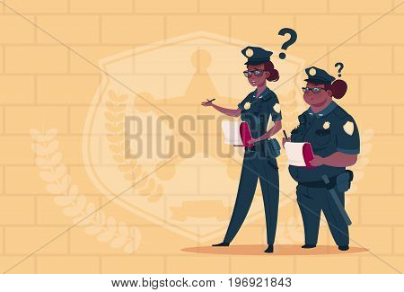 Two African American Police Women Holding Boxes With Office Staff Fired Wearing Uniform Female Guards On Blue Bricks Background Flat Vector Illustration