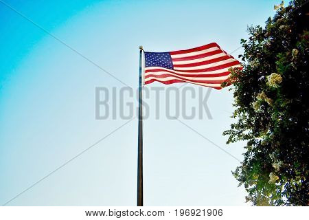 The Star Spangled Banner standing tall in the wind