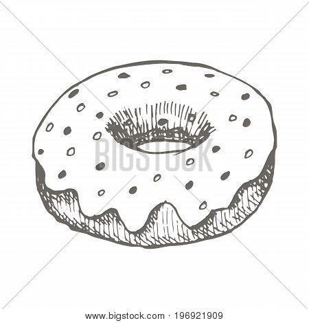 Vector vintage Donut drawing. Hand drawn monochrome fast food illustration. Great for menu, poster or label.