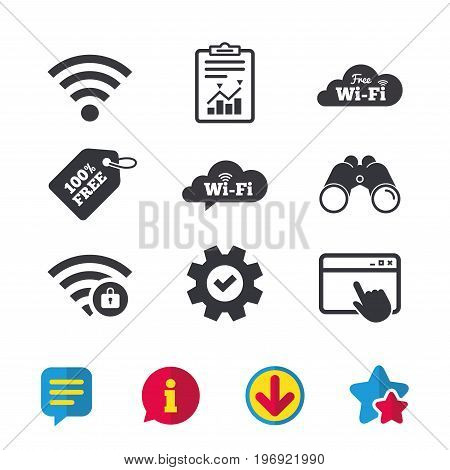 Free Wifi Wireless Network cloud speech bubble icons. Wi-fi zone locked symbols. Password protected Wi-fi sign. Browser window, Report and Service signs. Binoculars, Information and Download icons