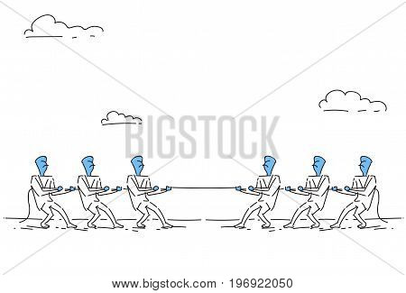 Businesspeople Group Team Pulling Rope, Business Competition Concept Vector Illustration