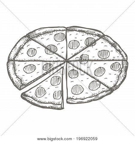 Vector vintage pizza drawing. Hand drawn monochrome fast food illustration. Great for menu, poster or label.