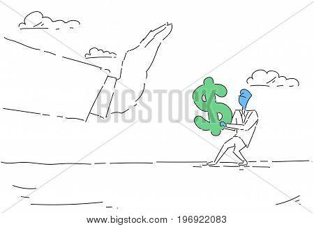 Businessman Hand Hold Dollar Sign Problem, Business Man Finance Crisis Concept Vector Illustration