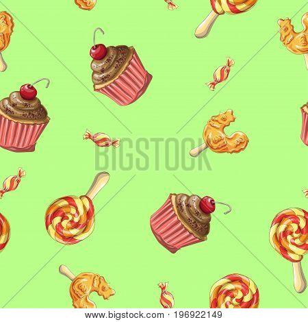 Candy Seamless pattern. Caramel on stick. Lollipops Cock. Vector illustration