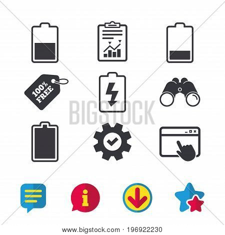 Battery charging icons. Electricity signs symbols. Charge levels: full, half and low. Browser window, Report and Service signs. Binoculars, Information and Download icons. Stars and Chat. Vector