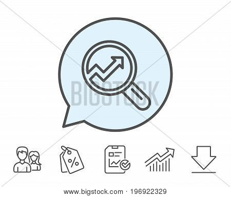 Chart line icon. Report graph or Sales growth sign in Magnifying glass. Analysis and Statistics data symbol. Report, Sale Coupons and Chart line signs. Download, Group icons. Editable stroke. Vector