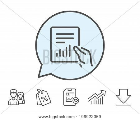 Hold Report document line icon. Analysis Chart or Sales growth sign. Statistics data symbol. Report, Sale Coupons and Chart line signs. Download, Group icons. Editable stroke. Vector