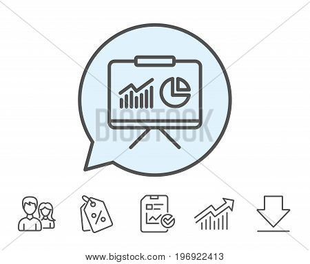 Presentation board line icon. Report chart or Sales growth sign. Analysis and Statistics data symbol. Report, Sale Coupons and Chart line signs. Download, Group icons. Editable stroke. Vector