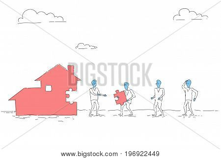 Business People Group Build House Team Investment Together Concept Vector Illustration