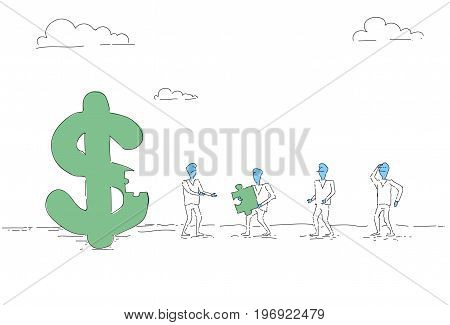 Business People Group Build Dollar Sign Team Investment Together Concept Vector Illustration