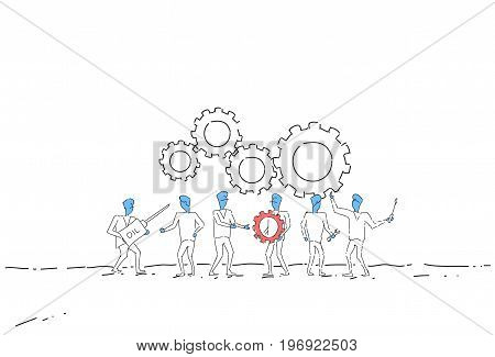 Business People Group Under Cog Wheel Work Together Brainstorming Process Strategy Concept Vector Illustration