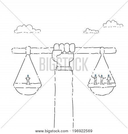 Business People Group On Balance Scale Career Concept Vector Illustration