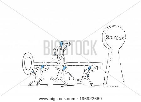 Group Of Business People Putting Key In Success Keyhole Successful Teamwork Concept Concept Vector Illustration