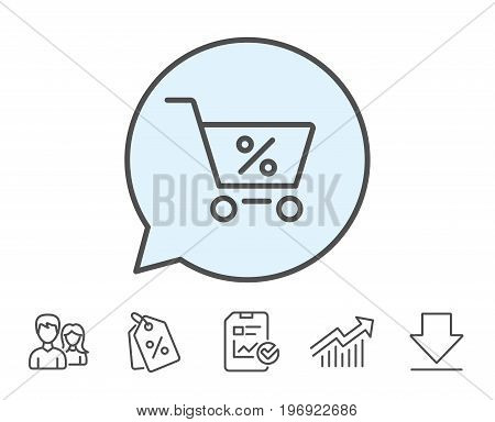 Shopping cart with Percentage line icon. Online buying sign. Supermarket basket symbol. Report, Sale Coupons and Chart line signs. Download, Group icons. Editable stroke. Vector