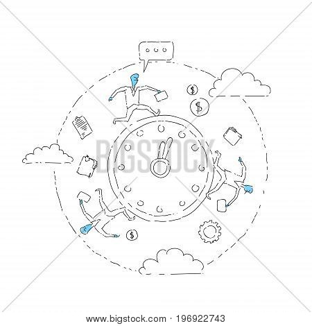 Business People Group Run Clock Businesspeople Time Deadline Concept Vector Illustration