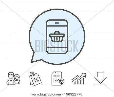 Mobile Shopping cart line icon. Smartphone Online buying sign. Supermarket basket symbol. Report, Sale Coupons and Chart line signs. Download, Group icons. Editable stroke. Vector