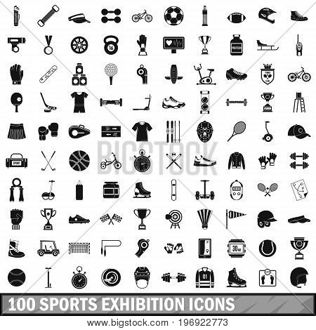 100 sports exhibition icons set in simple style for any design vector illustration