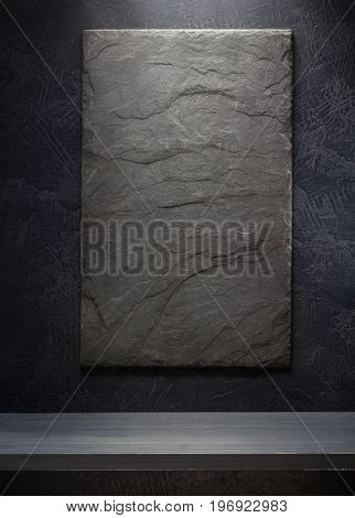 slate stone and shelf on black background wall