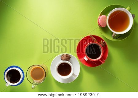 cup of coffee, tea and cacao at paper background
