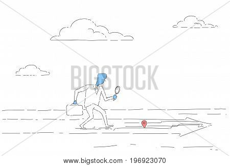 Business Man Searching For Destination On Digital City Map Gps Navigation Concept Vector Illustration