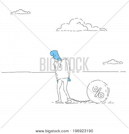 Business Man Chain Bound Legs Credit Debt Finance Crisis Concept Vector Illustration