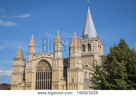 A view of the magnificent Rochester Cathedral in Kent UK.