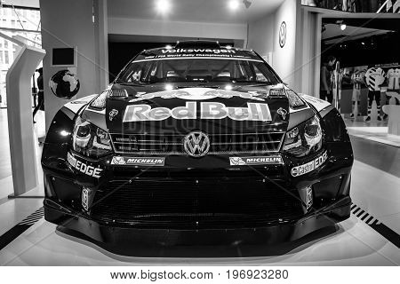 BERLIN - MAY 02 2015: Showroom. Sports car Volkswagen Polo R WRC. Black and white. Produced since 2015.
