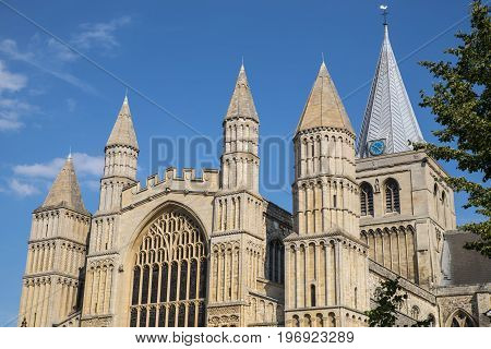 A view of the historic Rochester Cathedral in Kent UK.