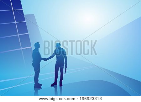 Two Silhouette Businessman Hand Shake, Business Man Handshake Agreement Concept Vector Illustration
