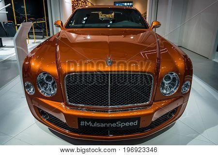BERLIN - MAY 02 2015: Showroom. Full-size luxury car Bentley Mulsanne Speed. Produced since 2014.