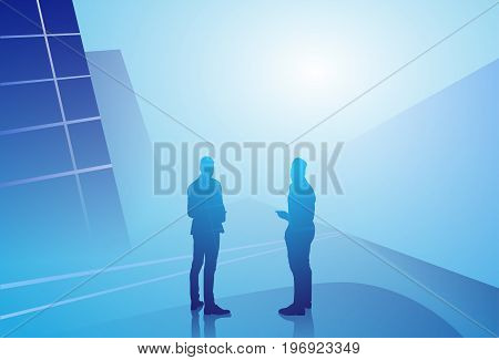 Two Silhouette Businessman Talking Discussion Communication Concept, Business Man Meeting Vector Illustration