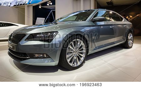 BERLIN - MAY 02 2015: Showroom. Large family car Skoda Superb (Third generation). Produced since 2015.