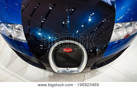 BERLIN - MAY 02 2015: Showroom. Supercar Bugatti Veyron EB 16.4. Fastest serial car in the world. Front view. Produced from 2005 to 2011