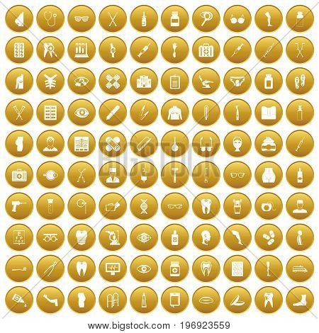 100 pharmacy icons set in gold circle isolated on white vector illustration