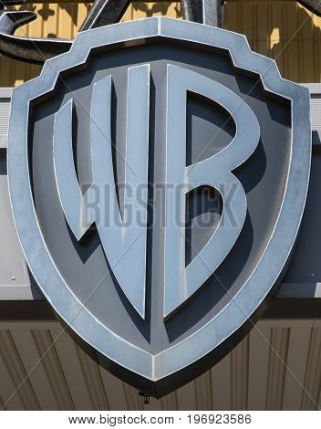 LONDON UK - JUNE 19TH 2017: A close-up of the Warner Bros. logo at The Making of Harry Potter Studio Tour at the Warner Bros studios at Leavesden in the UK on 19th June 2017.