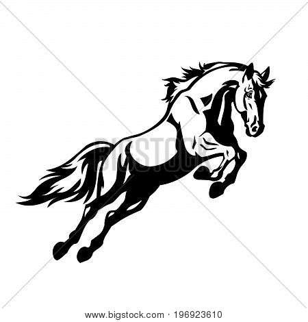 Horse racing on races. Wild black racehorse mustang galloping fast.  Horserace sport vector symbol. Equine mare racing in freedom