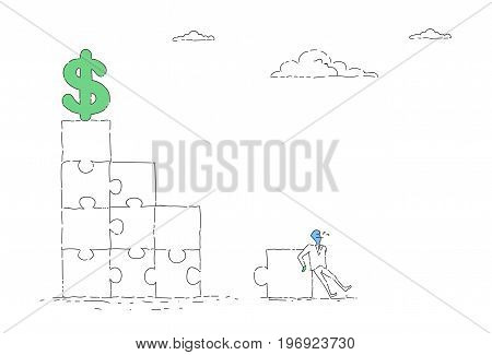 Business Man Solving Puzzle To Reach Dollar Sign Financial Success Concept Vector Illustration