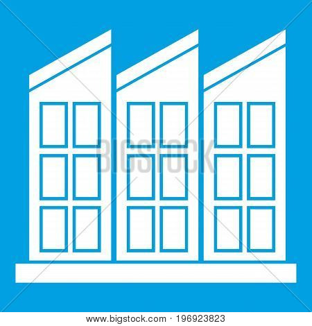 Building icon white isolated on blue background vector illustration