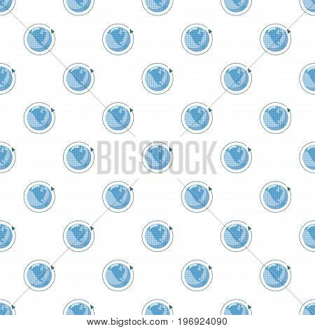 Blue earth and arrow pattern seamless repeat in cartoon style vector illustration