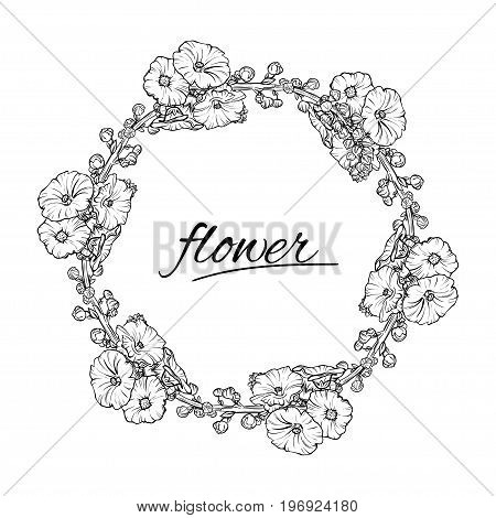 Vector floral wreath. Ink sketch in black and white isolated