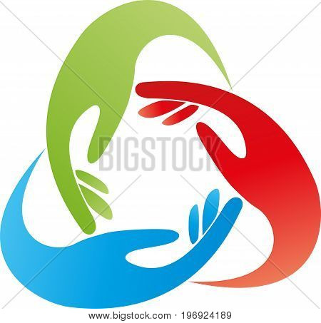 Three hands in color, family and team logo
