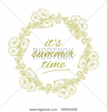 Its Summer time wreath with flowers, isolated fun, party, background, vector