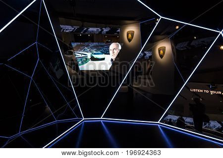 BERLIN - MAY 02 2015: Showroom. The stand of the manufacturer expensive luxury supercars - Lamborghini.